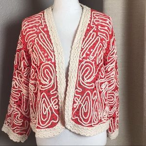 Chico's red and cream open cardigan